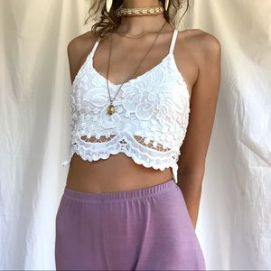 White Lacey boho crop halter tank top